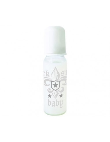 BIBERÓN ROCK STAR BABY FLOR DE LIS 250 ML BLANCO METALIZADO